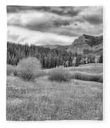Lamar Valley Looking Towards Specimen Ridge Bw- Yellowstone Fleece Blanket