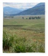 Lamar Valley Yellowstone National Park Fleece Blanket