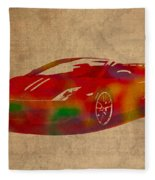 Lamborghini Gallardo 2013 Classic Sports Car Watercolor On Worn Distressed Canvas Fleece Blanket