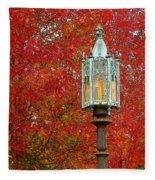 Lamp Post In Fall Fleece Blanket