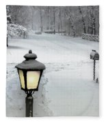 Lamppost In Snow Fleece Blanket