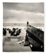 Landing At Normandy On D-day Fleece Blanket