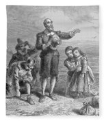 Landing Of The Pilgrims, 1620, Engraved By A. Bollett, From Harpers Monthly, 1857 Engraving B&w Fleece Blanket