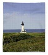 Landscape At Yaquina Lighthouse Fleece Blanket