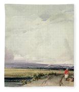 Landscape In Normandy, Traditionally Fleece Blanket