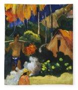 Landscape In Tahiti.mahana Maa Fleece Blanket