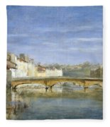 Landscape Oil On Canvas Fleece Blanket