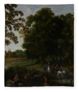 Landscape With A Courtly Procession Before Abtspoel Castle Fleece Blanket