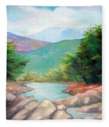 Landscape With A Creek Fleece Blanket