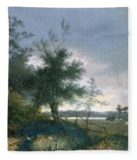 Landscape With A Fox Chasing Geese Fleece Blanket