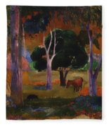 Landscape With A Pig And Horse Fleece Blanket