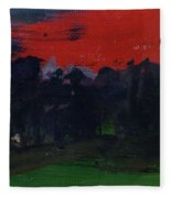 Landscape With A Red Sky Oil On Canvas Fleece Blanket