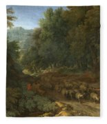 Landscape With A Shepherd And His Flock Fleece Blanket