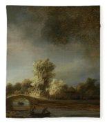 Landscape With A Stone Bridge Fleece Blanket