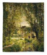 Landscape With A Sunlit Stream Fleece Blanket
