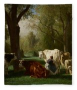 Landscape With Cattle And Sheep Fleece Blanket