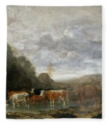 Landscape With Cattle Fleece Blanket