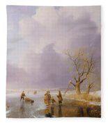 Landscape With Frozen Canal Fleece Blanket