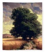 Landscape With Oaks Fleece Blanket