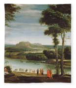Landscape With St. John Baptising Fleece Blanket