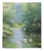 Landscape With Swans Fleece Blanket