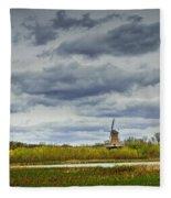 Landscape With The Dezwaan Dutch Windmill On Windmill Island In Holland Michigan Fleece Blanket