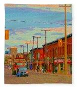 Landsdowne Condos 5th Avenue The Glebe Ottawa Street Scene Paintings Carole Spandau Canadian Art Fleece Blanket