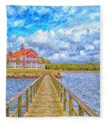 Landskrona Sea Shore Painting Fleece Blanket