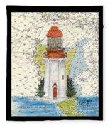 Langara Pt Lighthouse Bc Canada Nautical Chart Map Art Fleece Blanket