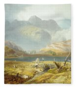 Langdale Pikes, From The English Lake Fleece Blanket