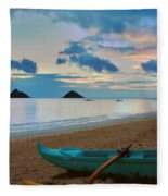 Lanikai Beach Sunrise 6 - Kailua Oahu Hawaii Fleece Blanket