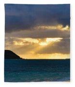 Lanikai Beach Sunrise Panorama 2 - Kailua Oahu Hawaii Fleece Blanket