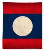 Laos Flag Vintage Distressed Finish Fleece Blanket