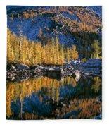 Larch Tree Reflection In Leprechaeun Lake  Fleece Blanket
