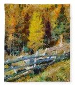 Larches In Autumn Fleece Blanket