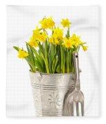 Large Bucket Of Daffodils Fleece Blanket