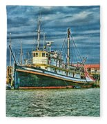 Large Fishing Boat Hdr Fleece Blanket