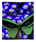 Large Green Butterfly Fleece Blanket