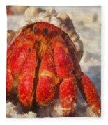 Large Hermit Crab On The Beach Fleece Blanket