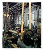 Large Lathe In Machine Shop Fleece Blanket