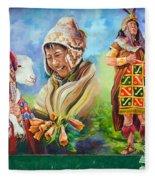Large Mural In Cusco Peru Part 4 Fleece Blanket