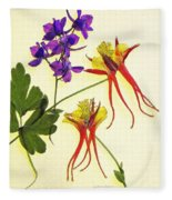 Larkspur And Columbine Fleece Blanket