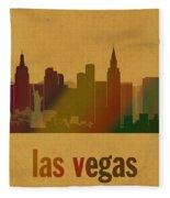 Las Vegas Skyline Watercolor On Parchment Fleece Blanket