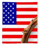 Lasso And American Flag Fleece Blanket