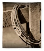 Lasso On Fence Post Rustic Fleece Blanket