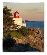 Last Light On Amphritite Lighthouse Fleece Blanket