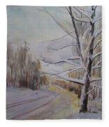 Last Winter Sunset Snow Scene Fleece Blanket