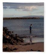 Late Afternoon Angler - Maalaea-maui Fleece Blanket