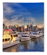 Late Afternoon At Constitution Marina - Charlestown Fleece Blanket