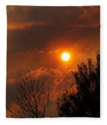 Late Afternoon Sun Through Smoke And Clouds Fleece Blanket
